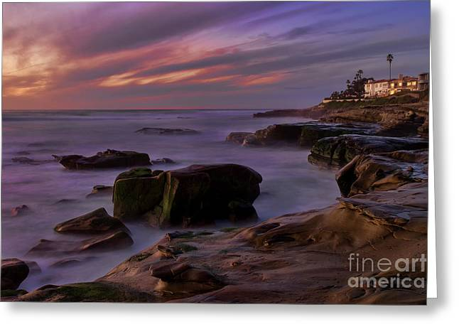 Greeting Card featuring the photograph Windansea Beach At Dusk by Eddie Yerkish