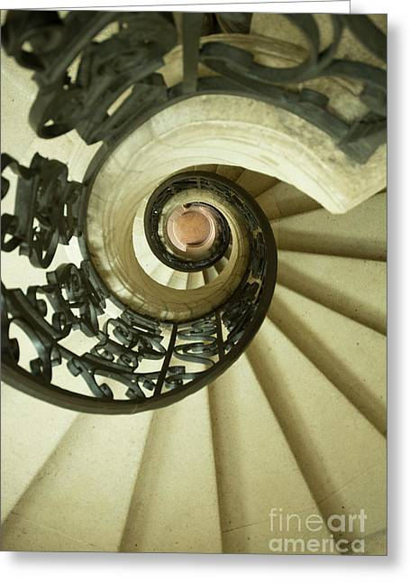 Winding Staircase. France. Europe. Greeting Card