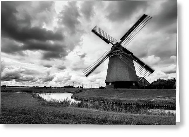 Windmill At Sunrise Greeting Card