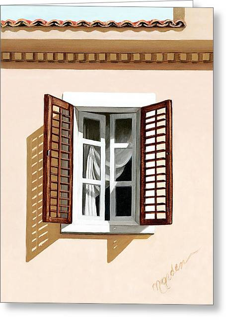 Window Above Athens - Prints From Original Oil Painting Greeting Card