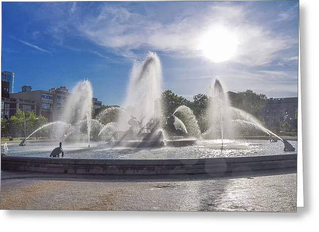 Windy Day At Swann Memorial Fountain Greeting Card by Bill Cannon