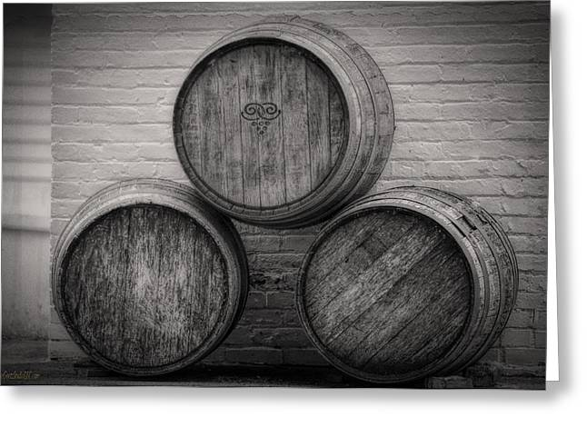 Wine Barrels At Mission Point Lighthouse Michigan Greeting Card