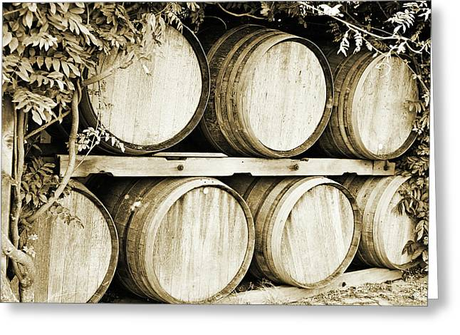 Wine Barrels Greeting Card by Scott Pellegrin
