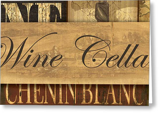Wine Greeting Cards - Wine Cellar Collage Greeting Card by Grace Pullen
