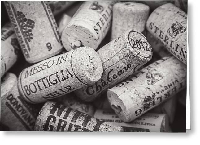 Wine Corks Black And White Greeting Card