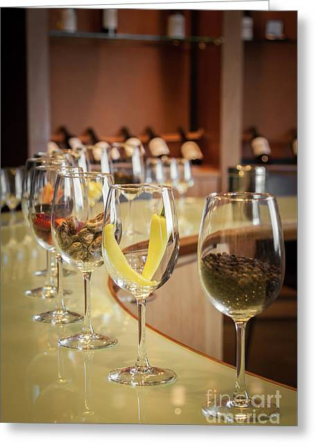 Wine Degustation Setting, Winery In Casablanca, Chile Greeting Card