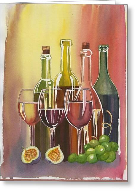 Wine Greeting Card by Elena Mahoney