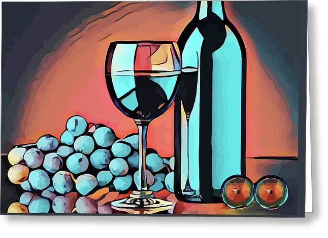 Wine Glass Bottle And Grapes Abstract Pop Art Greeting Card