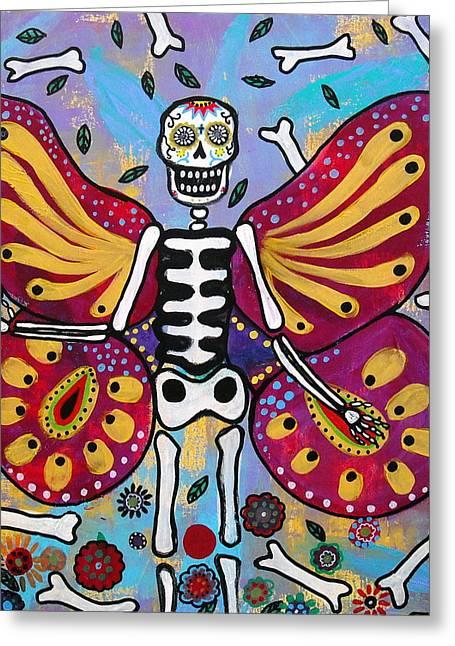 Winged Muertos Greeting Card by Pristine Cartera Turkus