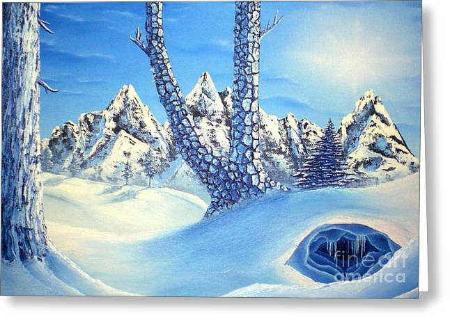 Winter Blues Greeting Card by Joshua Bales