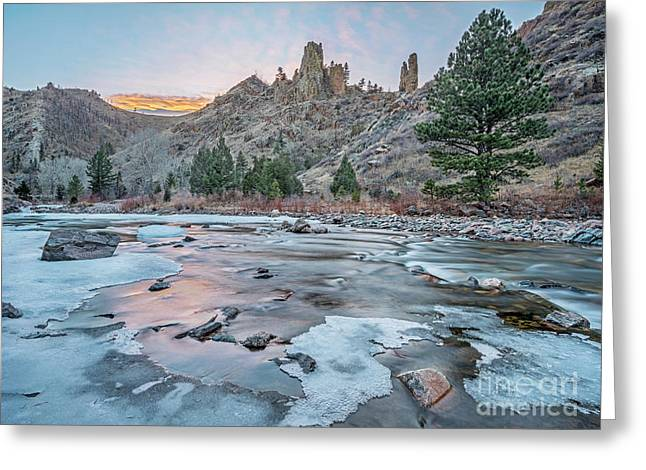winter dusk over Poudre Canyon Greeting Card