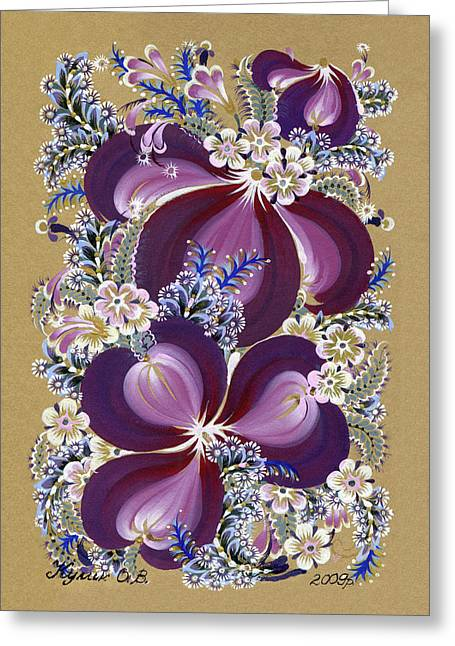 Winter Evening Greeting Card by Olena Kulyk
