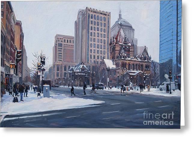 Winter In Copley Square, Boston Ma Greeting Card