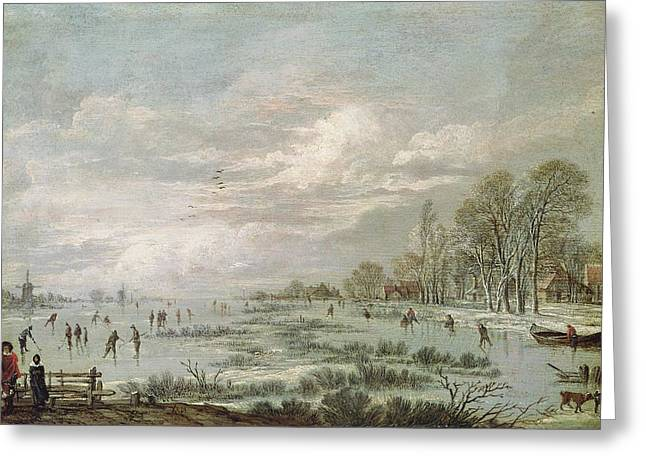 Hockey Paintings Greeting Cards - Winter Landscape Greeting Card by Aert van der Neer