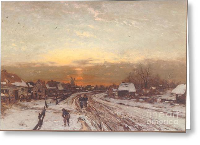 Winter Landscape At Sunset Greeting Card