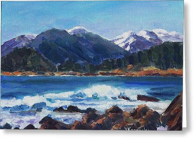Greeting Card featuring the painting Winter Mountains Alaska by Yulia Kazansky