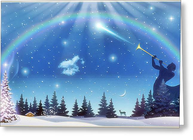 Winter Night Greeting Card by Harald Dastis