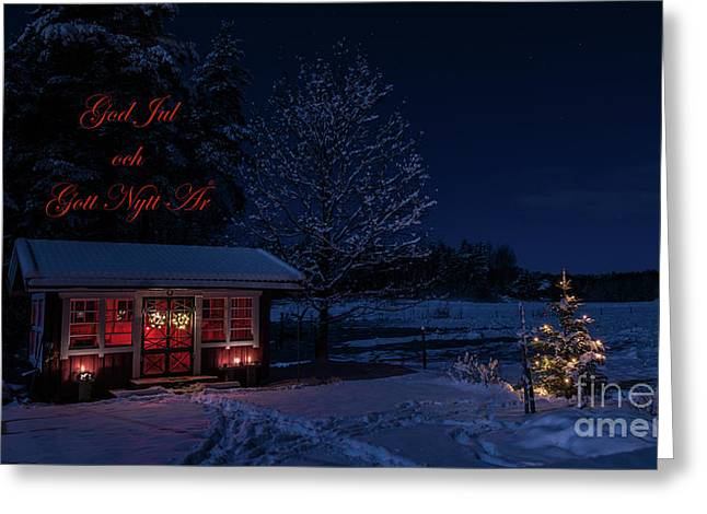 Greeting Card featuring the photograph Winter Night Greetings In Swedish by Torbjorn Swenelius
