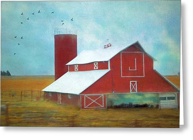 Winter Red Barn Greeting Card
