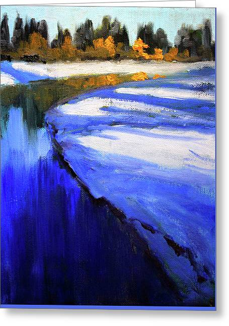 Greeting Card featuring the painting Winter River by Nancy Merkle
