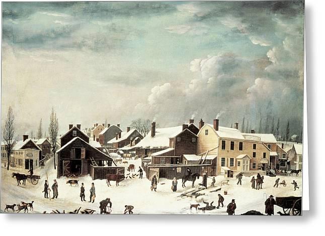 Winter Scene In Brooklyn Greeting Card by Francis Guy