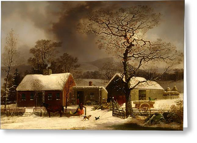 Winter Scene In New Haven Connecticut Greeting Card