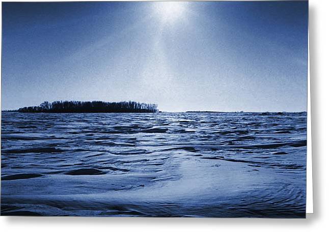 Winter Setting Sun Blue Toned Greeting Card