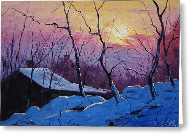 Frosty Greeting Cards - Winter Sunrise Greeting Card by Graham Gercken