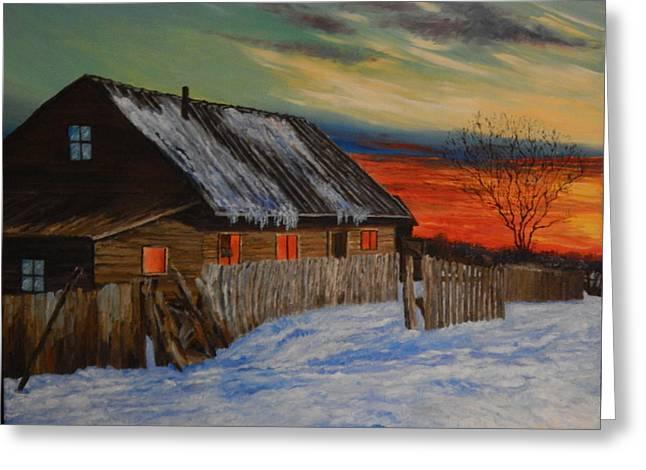 Winter Sunset Greeting Card by Robert Schmidt