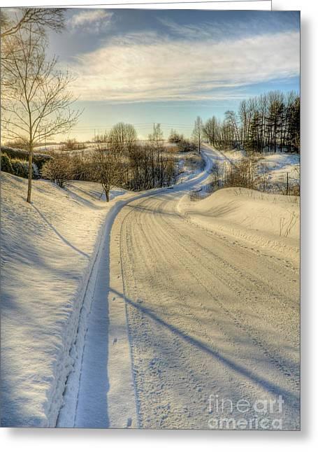 Wintry Road Greeting Card by Veikko Suikkanen