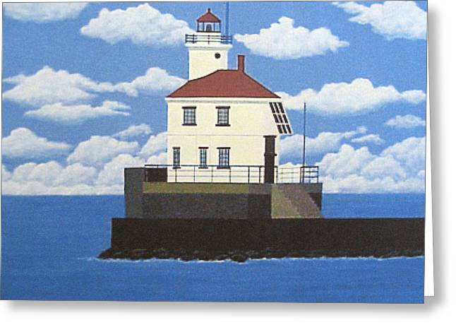 Wisconsin Point Lighthouse Greeting Card by Frederic Kohli