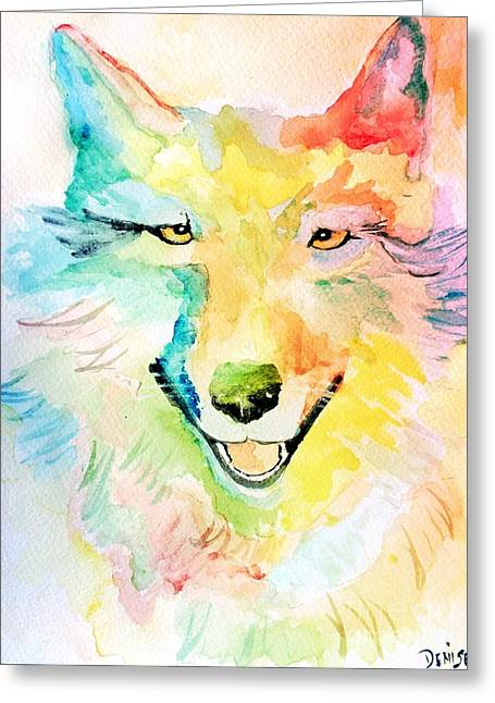 Greeting Card featuring the painting Wolfie by Denise Tomasura