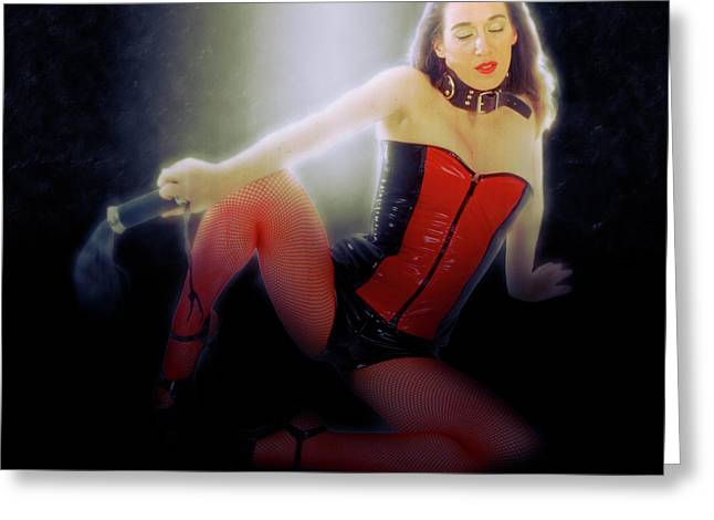 Woman Aged 30 In Red And Black Latex Greeting Card by Humorous Quotes
