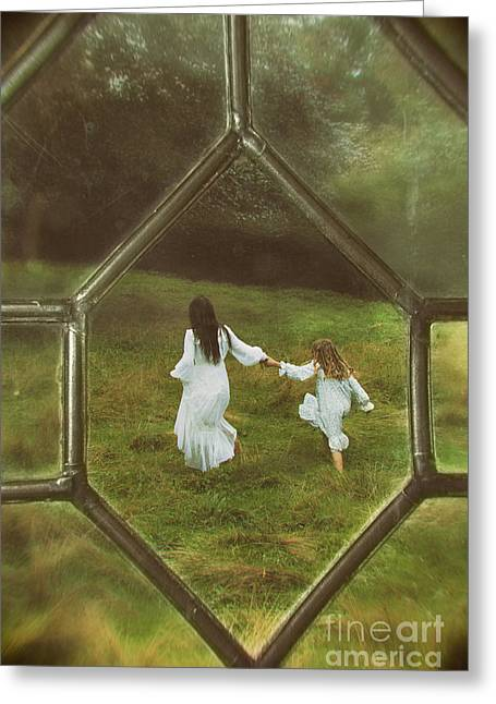 Woman And Child Through Window Greeting Card