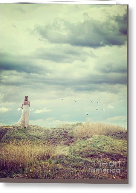 Woman And Tree Greeting Card by Mythja Photography