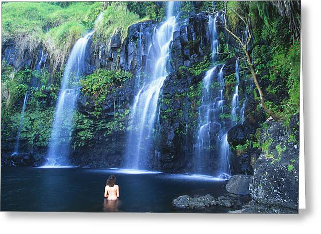 Woman At Waterfall Greeting Card by Dave Fleetham - Printscapes