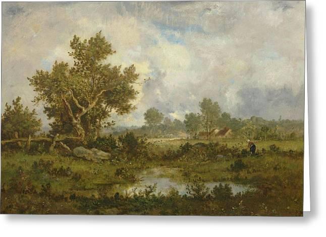 Woman Gathering Brushwood Near A Pond Greeting Card
