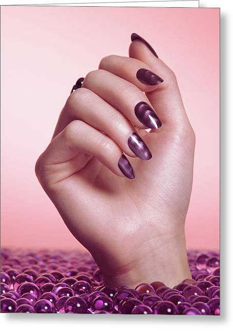 Woman Hand With Purple Nail Polish Greeting Card by Oleksiy Maksymenko