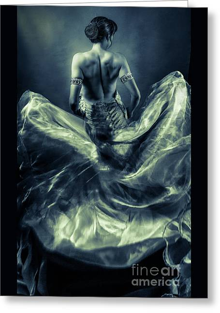 Woman In A Billowing Blue Gown Greeting Card