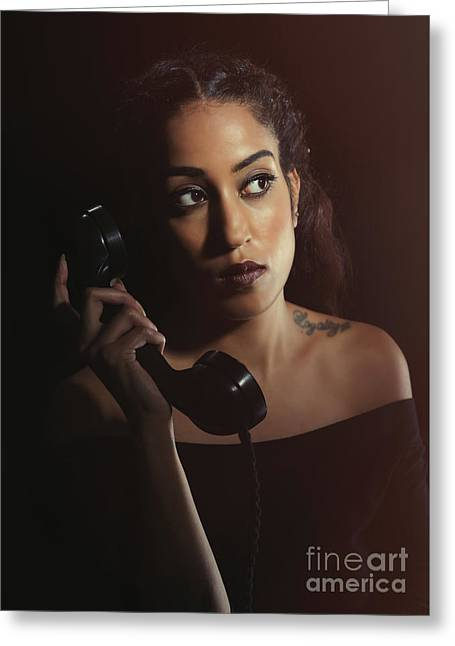 Woman On Telephone Greeting Card by Amanda Elwell