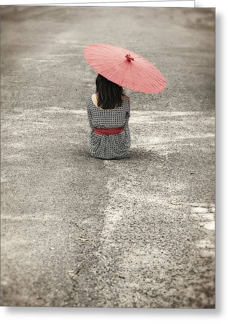 From Behind Greeting Cards - Woman On The Street Greeting Card by Joana Kruse