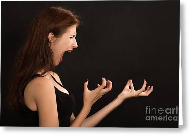 Woman Shouts Greeting Card by Aleksey Tugolukov