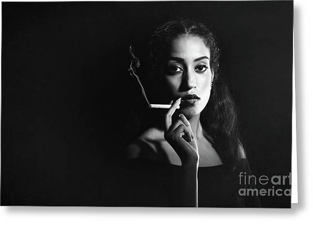 Woman Smoking Greeting Card by Amanda Elwell
