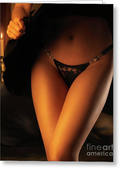 Woman Wearing Black Lacy Panties Greeting Card by Oleksiy Maksymenko
