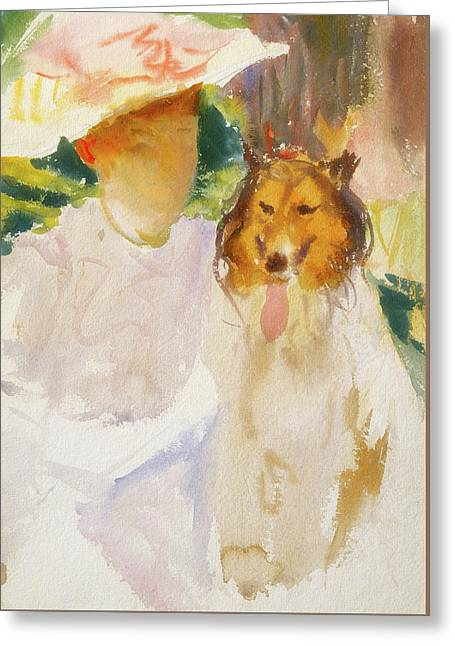 Woman With Collie Greeting Card by John Singer Sargent
