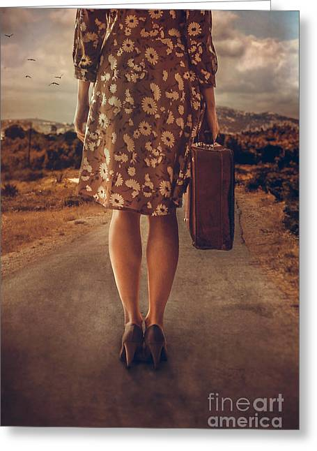 Woman With Suitcase Greeting Card by Mythja Photography