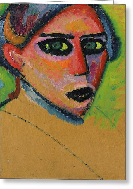 Woman's Face Greeting Card by Alexej von Jawlensky