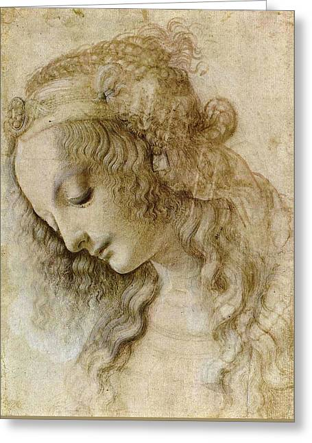 Woman's Head Greeting Card by Leonardo da Vinci