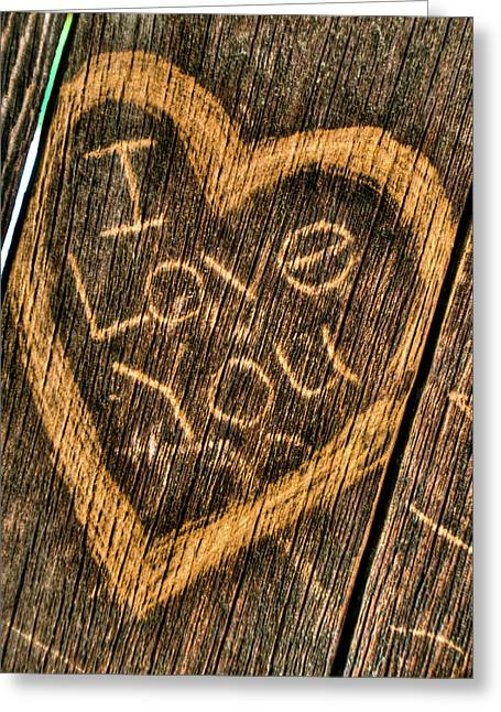 Vandalize Photographs Greeting Cards - Wood Carving I Love You Greeting Card by Connie Cooper-Edwards