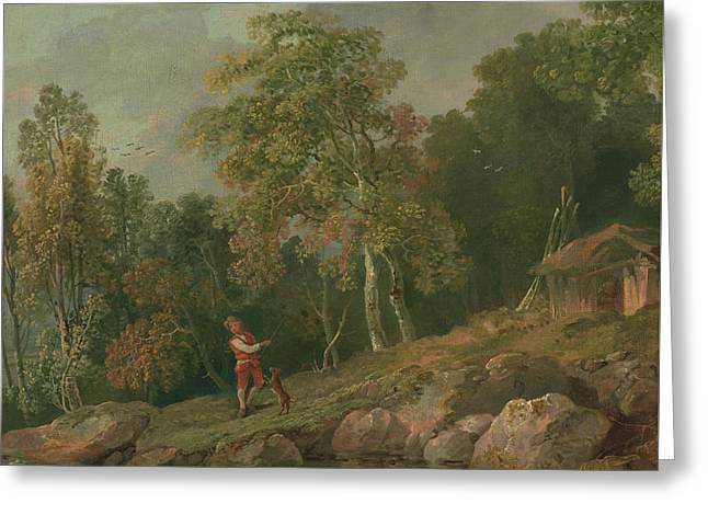 Wooded Landscape With A Boy And His Dog Greeting Card by MotionAge Designs